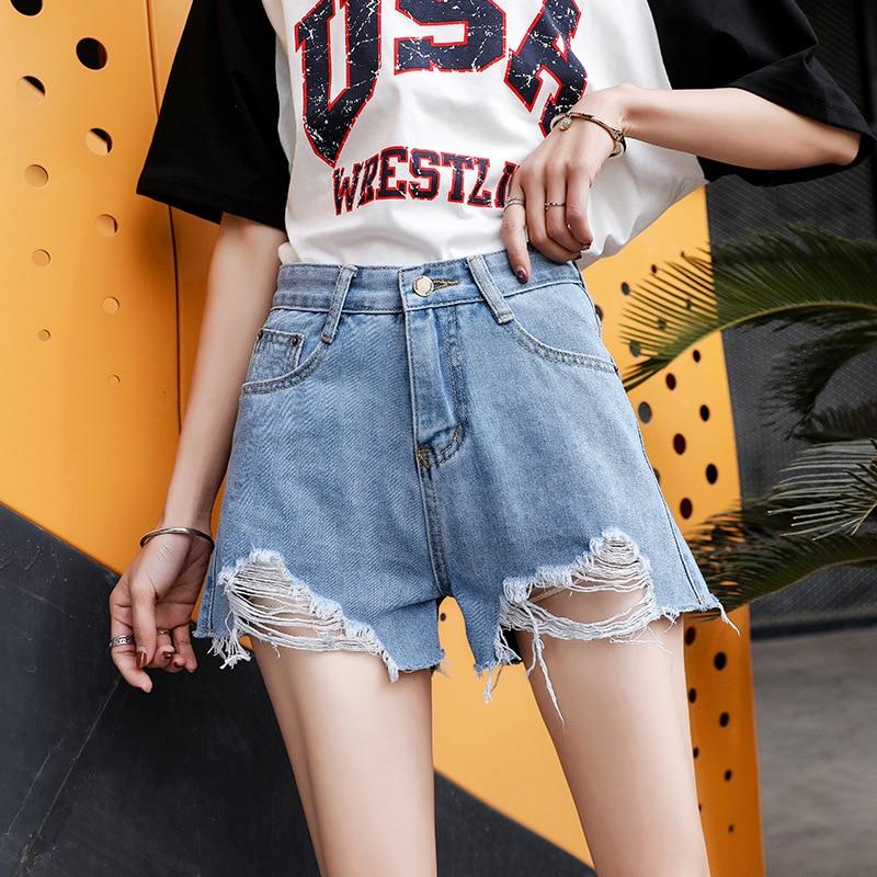 Casual shorts feminino verão nova moda meados de cintura jeans shorts plus size senhoras jeans