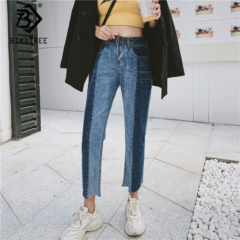 Spring New Women Vintage High Waist Ripped Mom Jeans Blue Straight Pants Autumn Plus Size Elastic Trousers Vaqueros Mujer 9D722T
