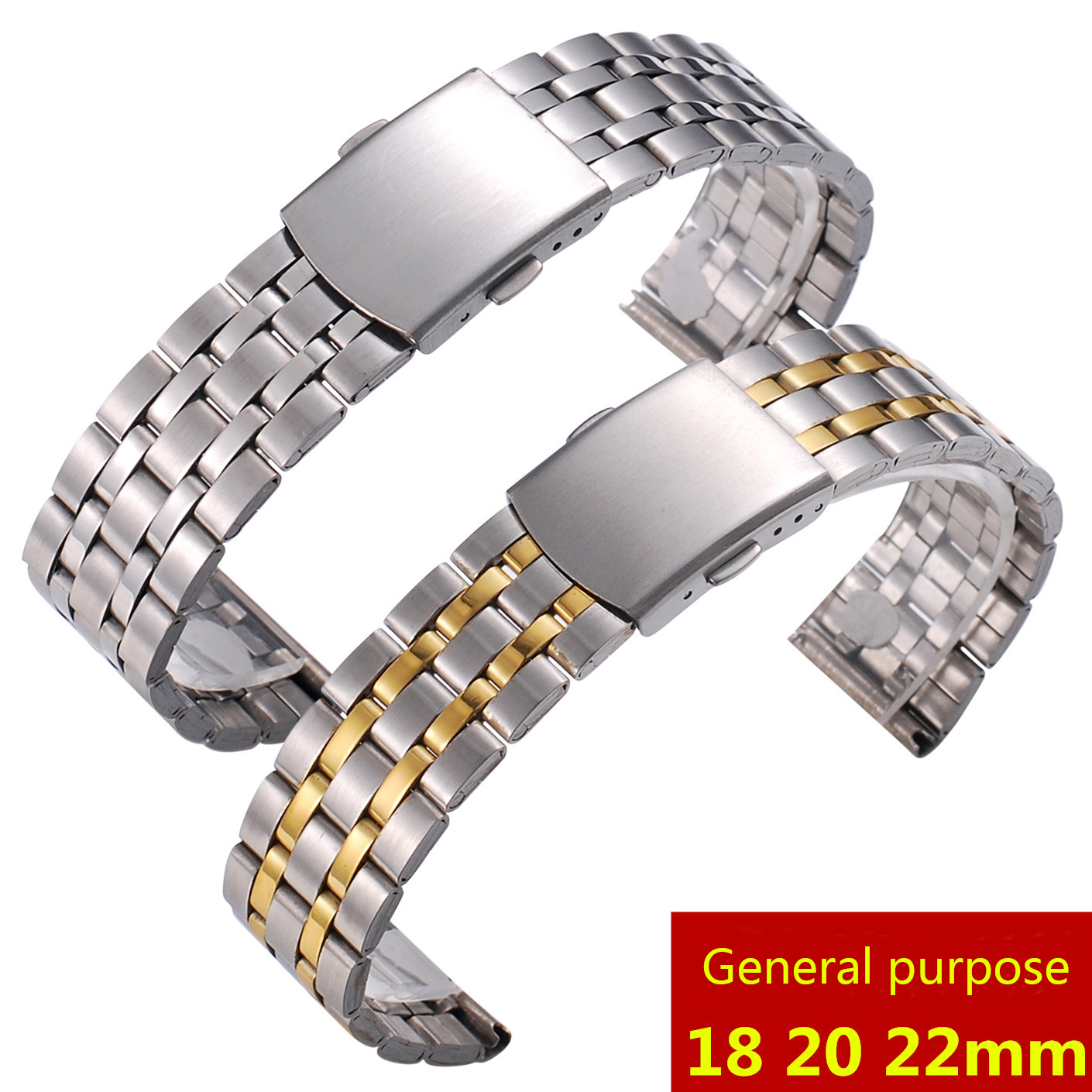 Watch Band Strap General Purpose Bilateral Button Stainless Steel Bracelet Band Strap Watch With 18 20 22mm Wristband Watchband