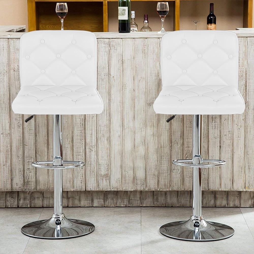 2Pcs/set  Modern Synthetic Leather Swivel Bar Stool Height Adjustable Counter Pub Chair Tabouret De Bar HWC