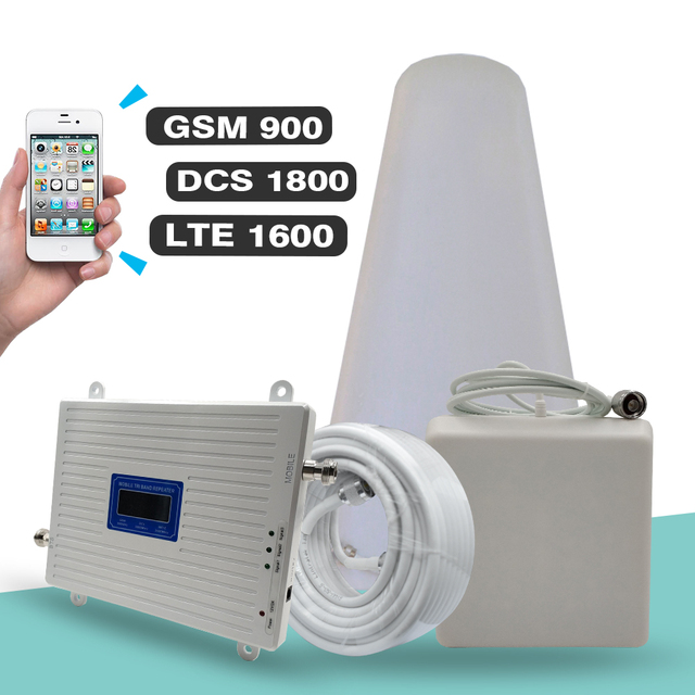 2G 3G 4G 트라이 밴드 리피터 GSM 900 + DCS LTE 1800 (B3) + FDD LTE 2600 (B7) 핸드폰 신호 부스터 900 1800 2600 신호 증폭기 세트