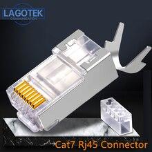 50PCS/lot RJ45 Connector Network Cable Connector Cat6a Cat7 RJ45 plug shielded FTP 8P8C Network Crimp Connectors 1.3mm