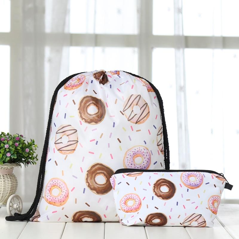 Backpack Suit Drawstring Drawstring Fruits Bags Fashion  Printing Men Casual Bags Unisex Women's Shoulder 3D Bag Bundle Pocket