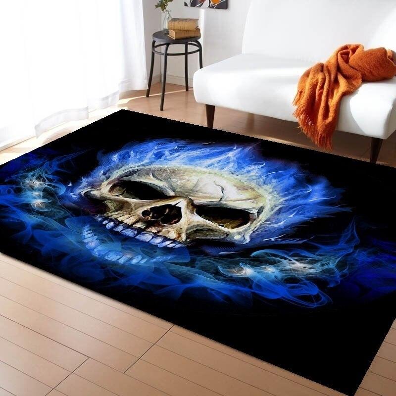 3D прямоугольный напольный ковер с рисунком огня, черепа, готический нескользящий коврик для спальни, декоративный ковер с синим пламенем, детский игровой коврик 5 размеров