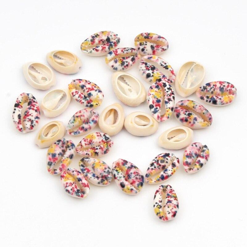 Lote de 10 Uds de conchas de grafiti Multicolor, conchas marinas naturales para fabricación de joyería Diy, decoración de concha para el hogar, decoración de playa