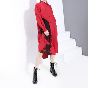 Image 4 - * New 2019 Korean Women Winter Red Printed Shirt Dress Full Sleeve Lapel Ladies Knee Length Casual Dress Midi Style Robe 5818