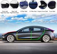 Door Seal Kit Soundproof Strip Weather Stripping Wind Noise Reduction Kit Weather Draft Seal Strip for Tesla Model 3 Front&Rear