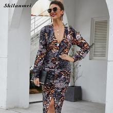 цена на 2020 New Sexy Slim Leopard Dress Women Long Sleeve One-Piece Dress Spring Deep-V Neck High Slit Party Dress Night Club Vestidos
