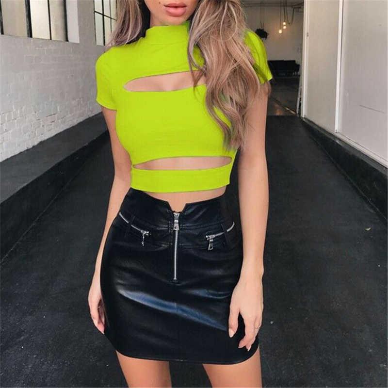 패션 여성 캐주얼 섹시한 가슴 중공업 자르기 가기 솔리드 섹시한 여성 슬림 탱크 탑스 티셔츠