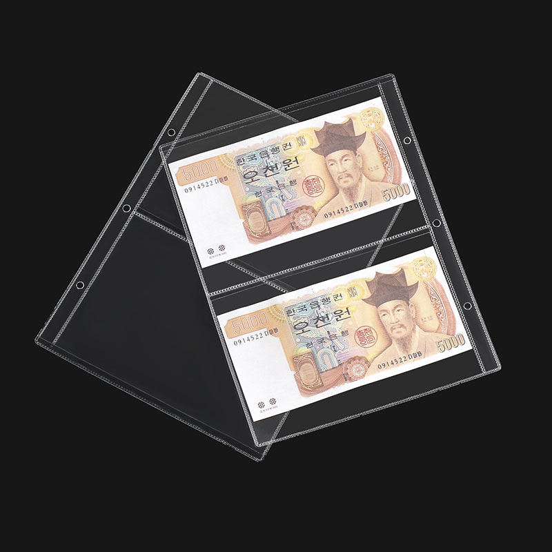 2 Pockets 3 Hole Cash Stamp Collection Transparent PVC Loose-Leaf Binding Sleeve Album Book Organizer Storage For Collector