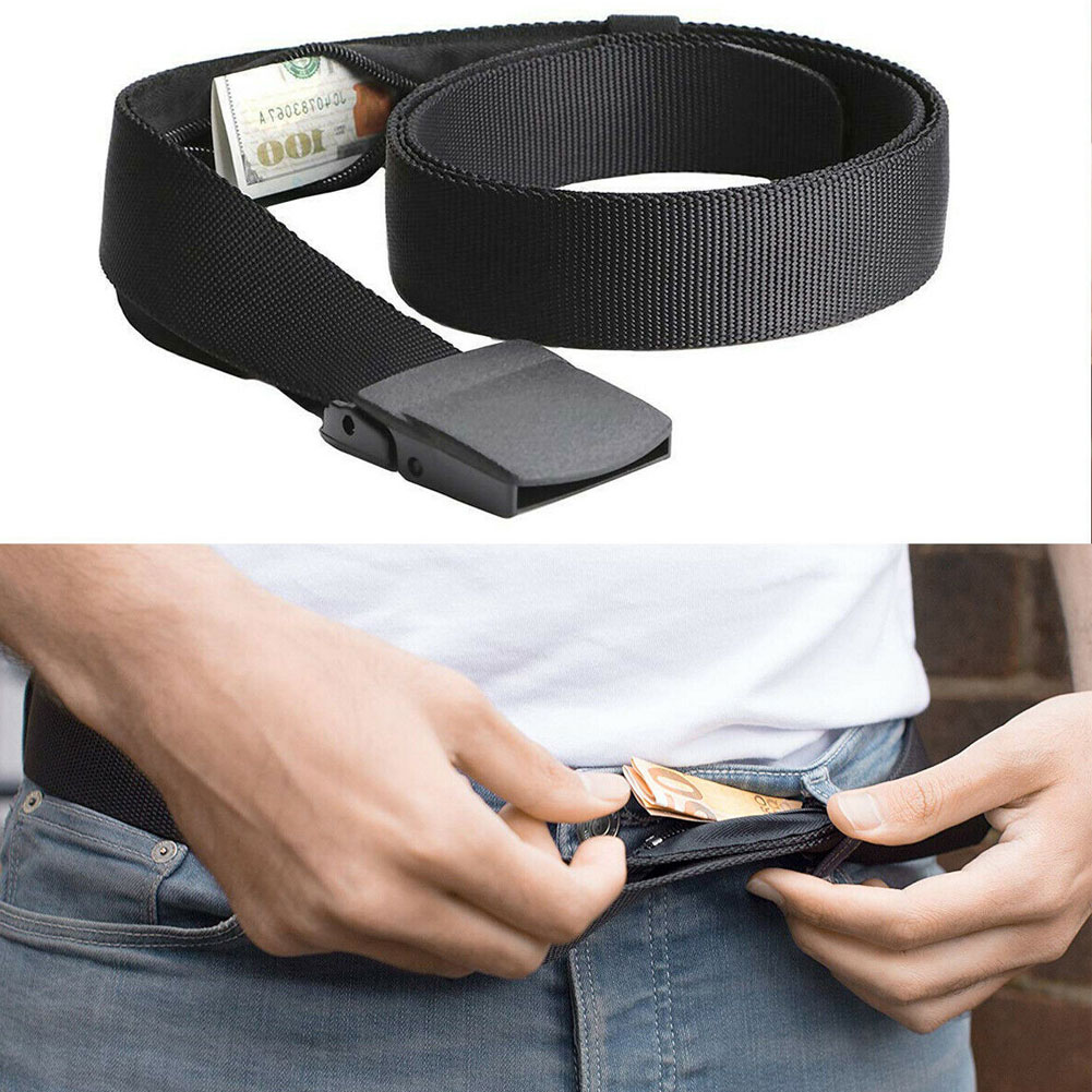 Noverty Anti-Theft Wallet Belts Unisex Casusl Security Money Travel Belt With Hidden Pocket Cash Safe Easybelt Buckless Belts