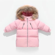 Outerwear Coveralls Down-Jacket Hooded Real-Fur-Collar Thickened Girls Boys Winter Children
