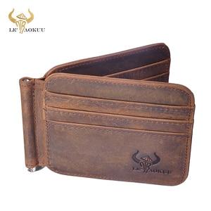 Модный брендовый роскошный кожаный кошелек унисекс высокого качества в подарок, модный тонкий кошелек с передним карманом, зажим для денег,...