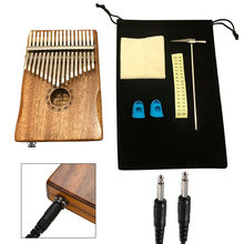 Kalimba 17 Keys Thumb Piano Solid Acacia Electric Pickup Wood Mahogany Body Musical Instrument