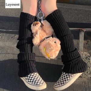 Leg-Warmers Rock-Sock Gothic Slim High-Elastic Women Knit Punk Black Solid Cool Outdoor-Knee
