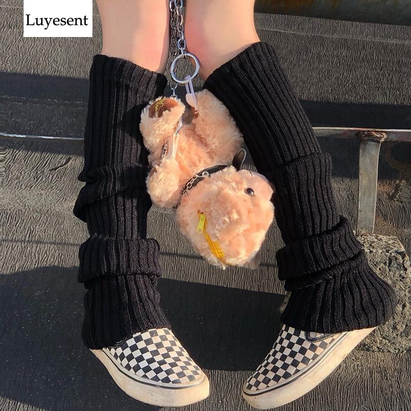 Однотонные черные крутые вязаные длинные носки в стиле панк, женские уличные эластичные гетры до колена, женские теплые облегающие готичес...