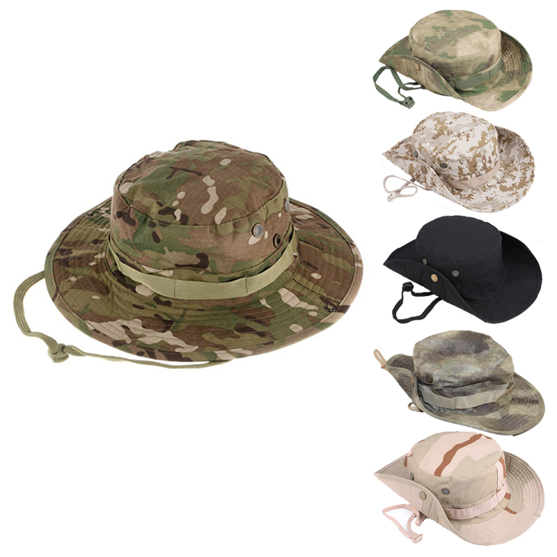 Multi Camouflage Tactical Boonie Hats Military Cadet Bucket Sniper Hat Men Outdoor Fishing Hiking Cap Sun Cover Adjustable Strap