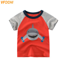 VFOCHI 2019 New Boys T Shirt Cartoon Shark Print Tee Kids T Shirt 2-10Y Teenager Boy Tops Patchwork Short Sleeve Boy T Shirts