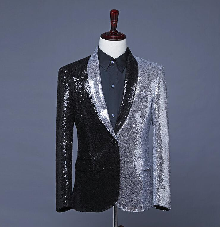 New Men Black Silver Sequins Splice Dress Singer DJ Host Suit  Hair Stylist Coat Tide Blazer Plus Size Costumes Blazer Masculino
