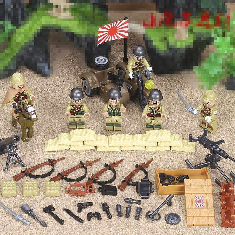 6PCS World War 2 Soviet army Army Soldiers counterattack Building Blocks Military weapon Toys LegoINGlys Figures Toys Children