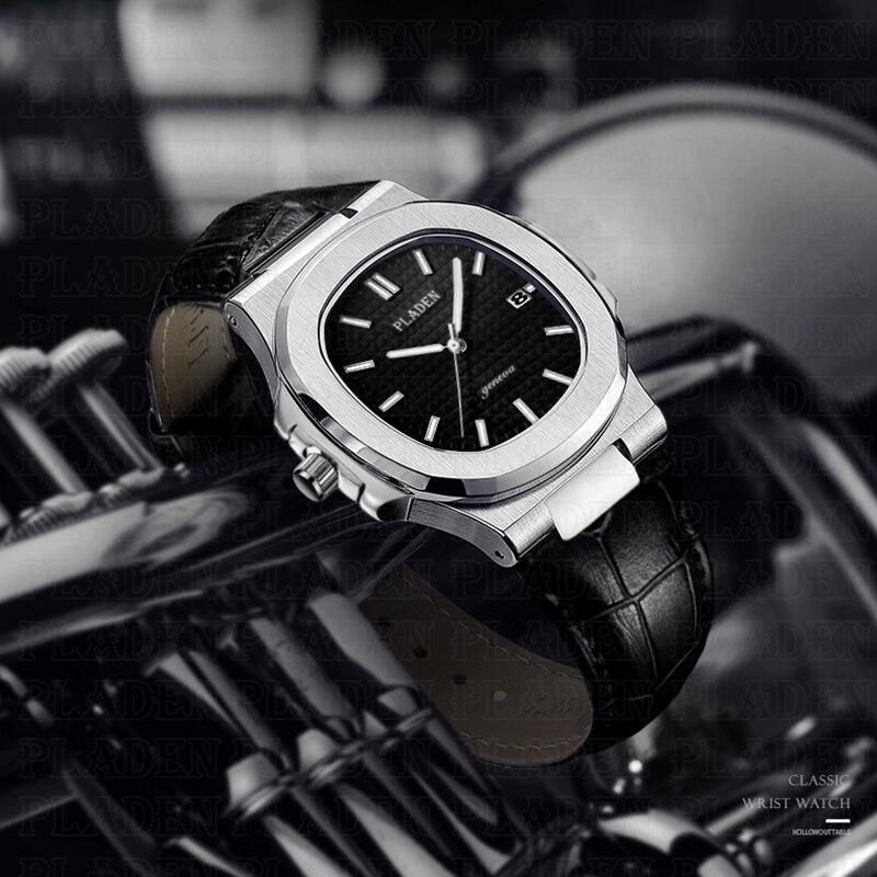 PLADEN Business Watch For Men Steel Black Dial Leather Strap Butterfly Button Analog Quartz Wholesale Constantin Nardin Watch