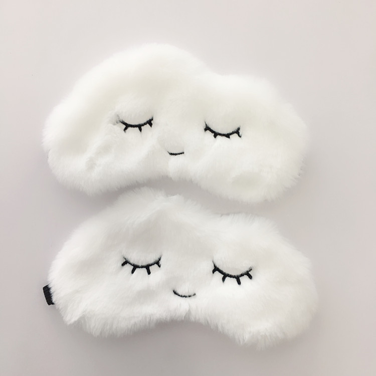 Soft Eye Mask Blindfold Super Soft Plush Cartoon Cloud Eye Mask Cute Eyelashes Sleeping Mask Eyepatch Sleeping Aid Eye Patch