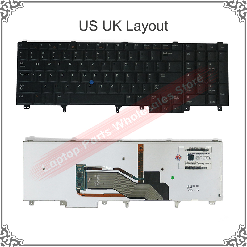 US UK Keyboard Replacement For Dell Latitude E5520 E5520M E5530 E6520 E6530 E6540 Black With Backlit Pointer Keyboard