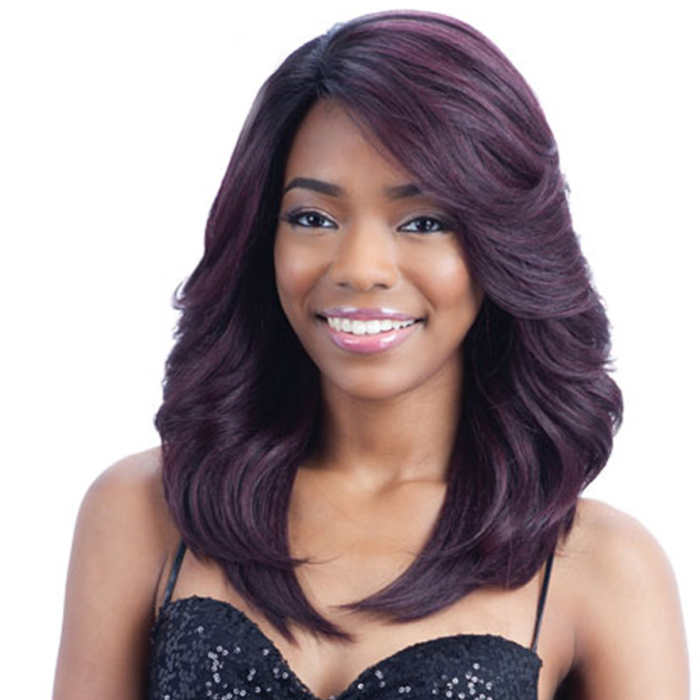 Long Wavy Synthetic Wigs For Black American European Women Loose Wave Purple Wigs Average Size Synthetic Wigs 18 Inches