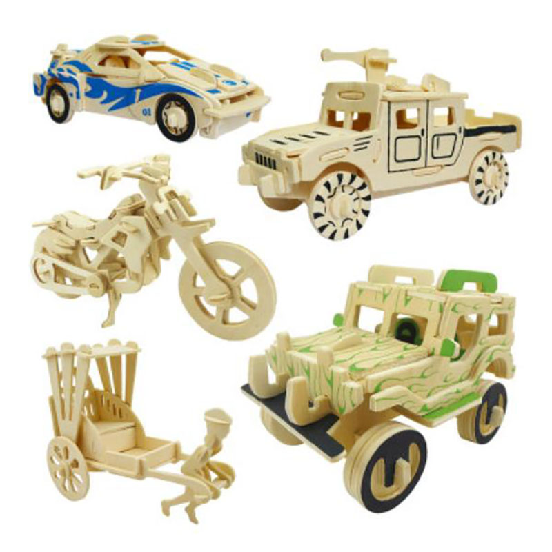 QUINEE OX Mini Car DIY 3D Wooden Puzzle DIY Manual Simulation Stereo Assembled Model Children Wooden Puzzle Educational Toy.