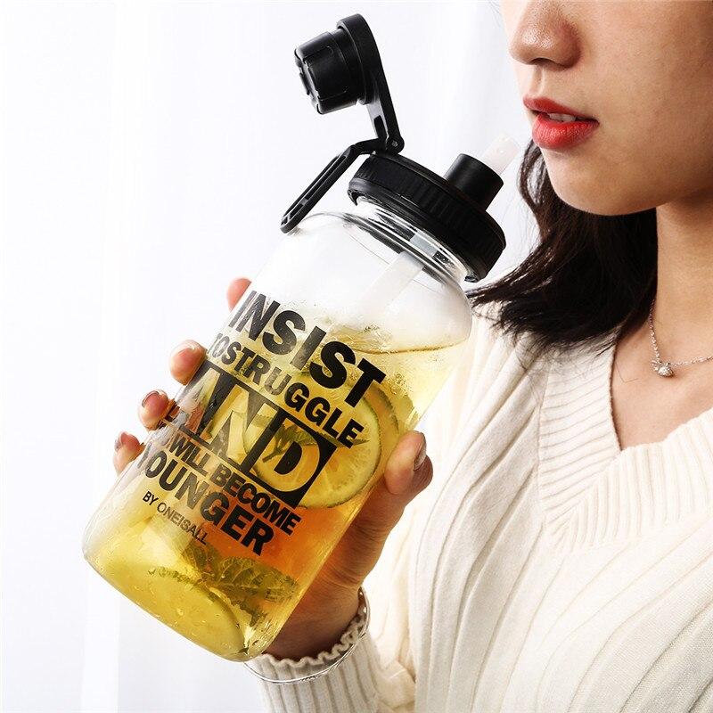 1.0L Sports Straw Glass Water Bottle Leakproof Hiking Drinking Bottle For Water BPA Free Tumbler With Grip Eco friendly Drinker|Water Bottles| |  - AliExpress