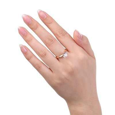 YANHUI Luxus Solitaire 2,0 ct Silber Hochzeit Ring Original 18K Rose Gold Farbe Zirkonia Diamant Engagement Ring für Frauen r170