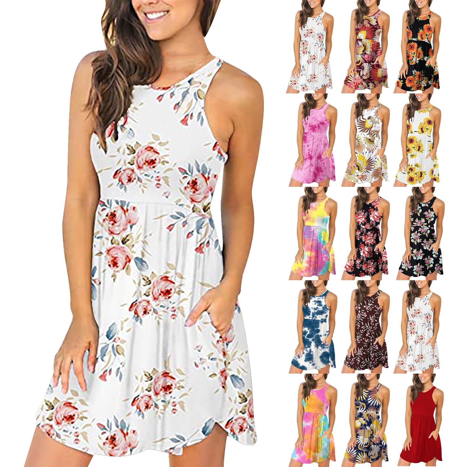 Women's Summer Sleeveless Casual Dresses Swing Cover Up Elastic Sundress with Pockets 1