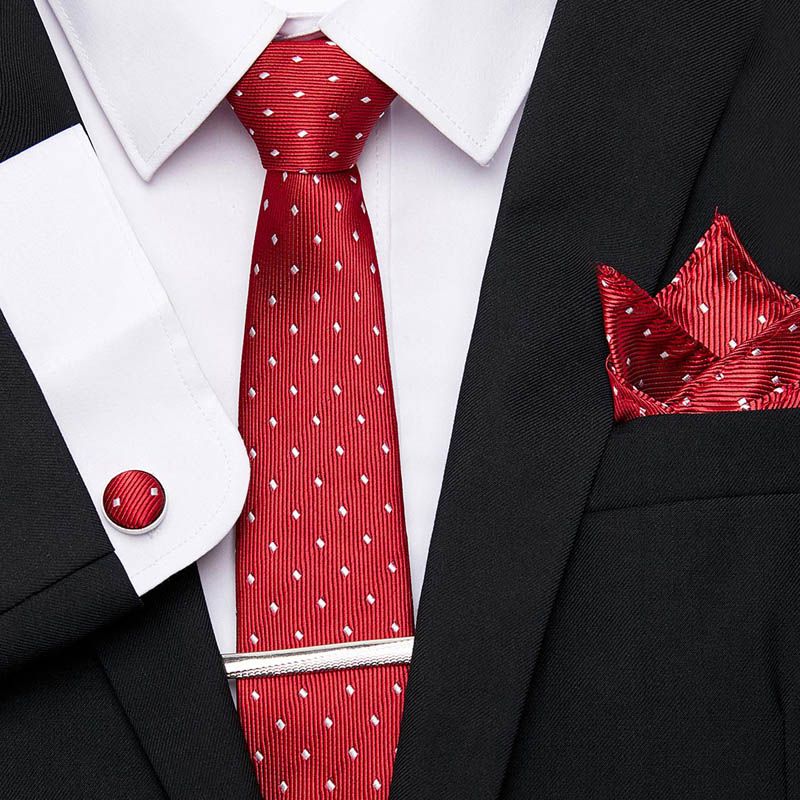 52 Colors Wedding 7.5cm Tie For Men 100%Silk Tie Set Luxury Striped Slim Red Ties For Men Suit Mens Skinny Ties Formal Dress Tie