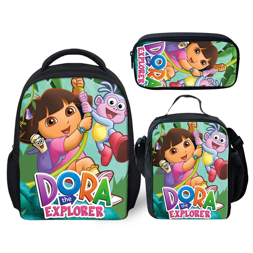 3Pcs School Bag Set For Baby Kid Cute Cartoon Dora The Explorers School Backpack Girl Bagpack Children 12 Inch Bookbag Satchel