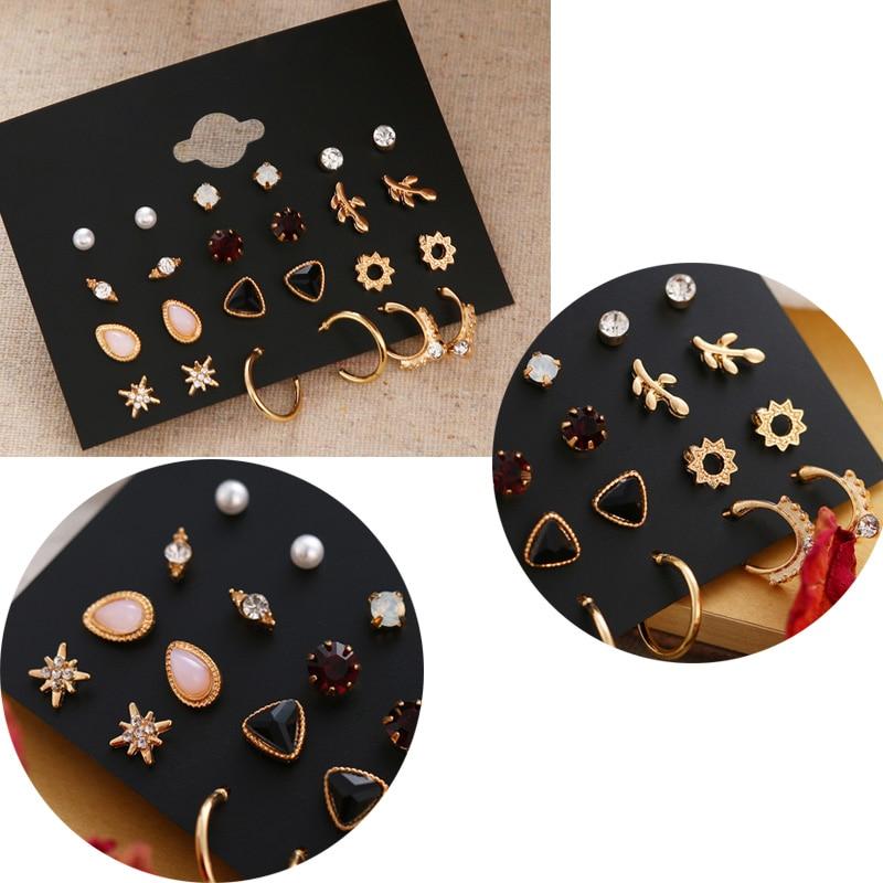 FNIO Women's Earrings Set Pearl Earrings For Women Bohemian Fashion Jewelry 2020 Geometric Crystal Heart Stud Earrings 6