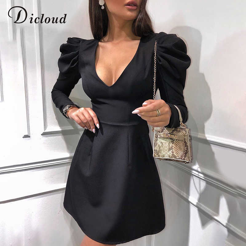 DICLOUD Elegant Black Women A Line Dresses V Neck Long Sleeve Autumn Spring Mini Party Dress Vintage Puff Sleeve Solid Clothes