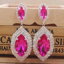 Zerong large rhinestone dangling earring Luxury jewelry drop colorful with big glass stone gold/silver wedding