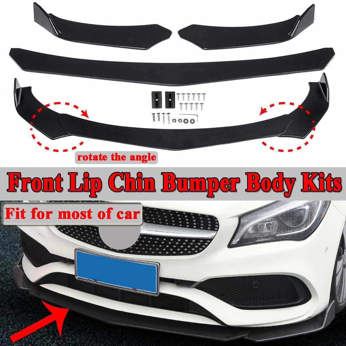 3pc שחור אוניברסלי רכב מגן קדמי שפתיים פגוש ספליטר מפזר הגנה סנפירי גוף ספוילר ערכות עבור פורד לנץ עבור BMW