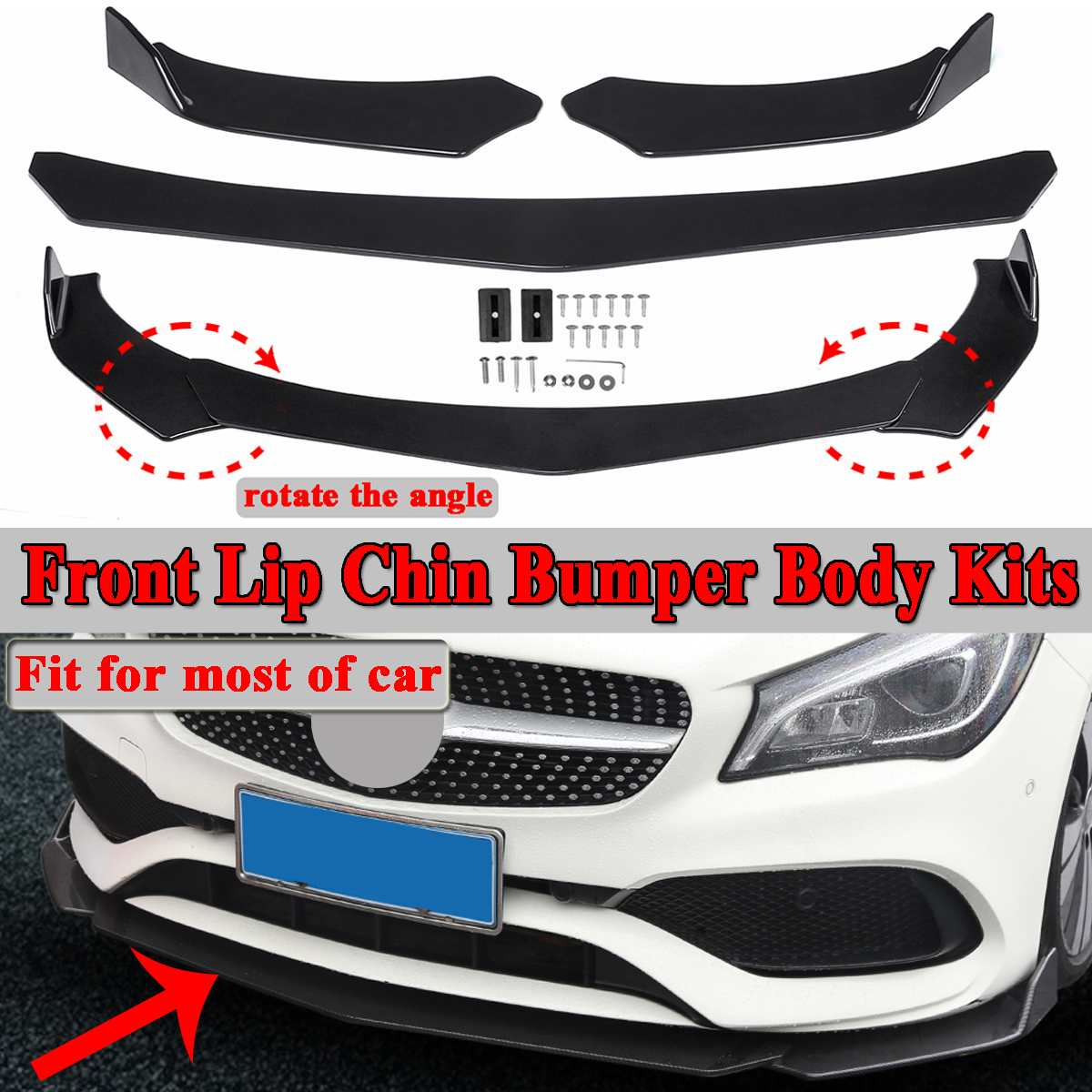 3pc Black Universal Car Protector Front Lip Bumper Splitter Diffuser Protection Fins Body Spoiler Kits For Ford For Benz For BMW|Bumpers| |  -