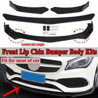 3pc Black Universal Car Protector Front Lip Bumper Splitter Diffuser Protection Fins Body Spoiler Kits For Ford For Benz For BMW