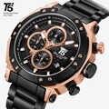 Rose Gold ยี่ห้อ T5 ชายชายควอตซ์ Mens Chronograph นาฬิกากันน้ำกีฬานาฬิกาข้อมือนาฬิกาผู้ชายนาฬิกาข้อมือกล่อ...