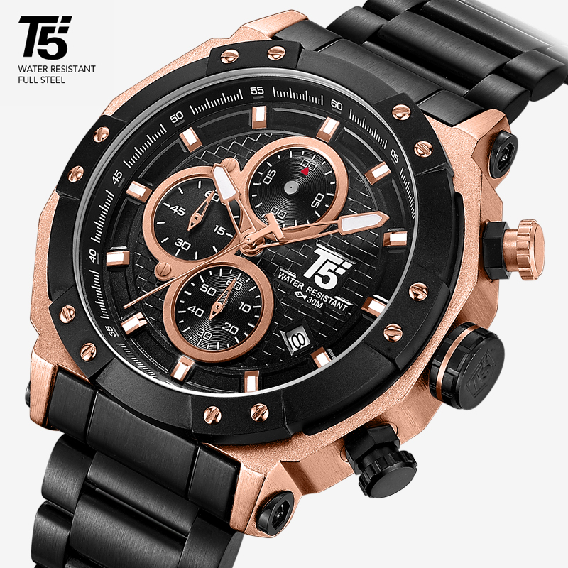 Rose Gold Brand T5 Male Man Quartz Mens Chronograph Waterproof Clock Sport Wrist Watch Men Watches Wristwatch Box Stopwatch 2019