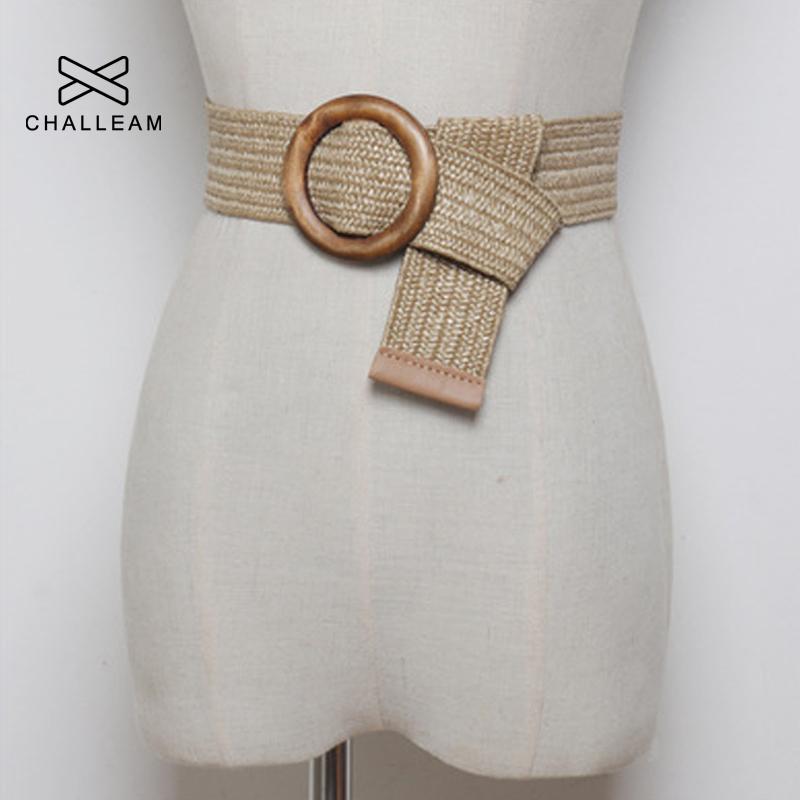 Women Bohemian Elastic Braided Belt Fashion Female Summer Dress Jeans Wide Black PP Straw Designer Wood Buckle Boho Belts 232