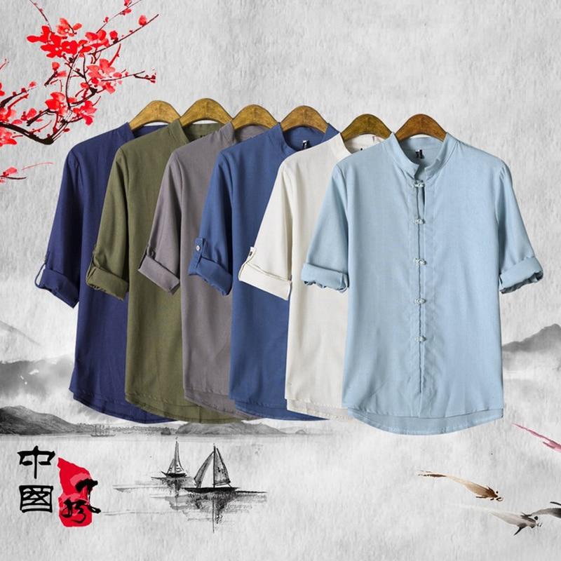 Summer Chinese Traditional T-Shirt Retro Linen Tee Tops Oriental Kungfu Tang Suit Hanfu Clothing Japanese Viking Pirate Costumes