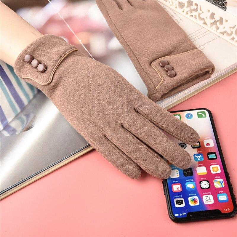 Модные женские перчатки, теплые зимние перчатки с мягкой подкладкой и пуговицами, 2019 осень зима, новые элегантные однотонные перчатки CD|Женские перчатки|   | АлиЭкспресс