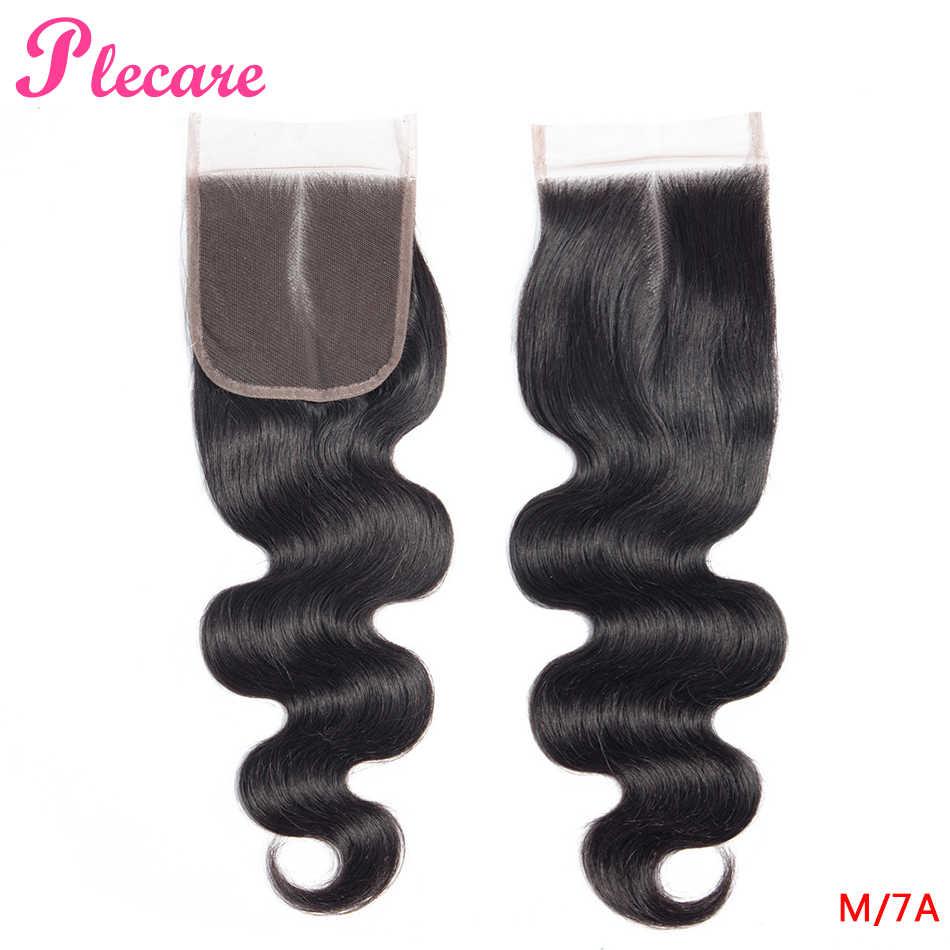 Plecare 4*4 Cierre de encaje brasileño onda del cuerpo 8-20 pulgadas Color Natural medio Ratio no remy 100% extensiones de cabello humano