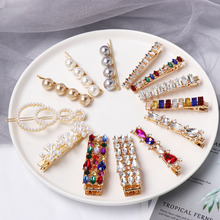 1PC Bling Colorful Luxury Crystal Rhinestones Hairpins Geometric Round Oval Hair Clips Jewelry Accessories