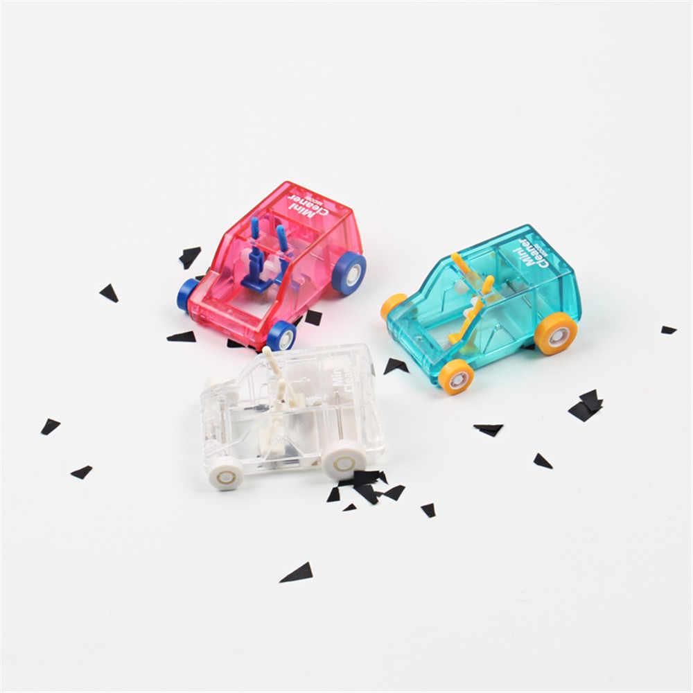 ความแปลกใหม่ตารางทำความสะอาดฝุ่นMini Car Shapeรถเข็นแป้นพิมพ์เดสก์ท็อปฝุ่นดินสอยางลบฝุ่นConfetti Sweeper Kawaii