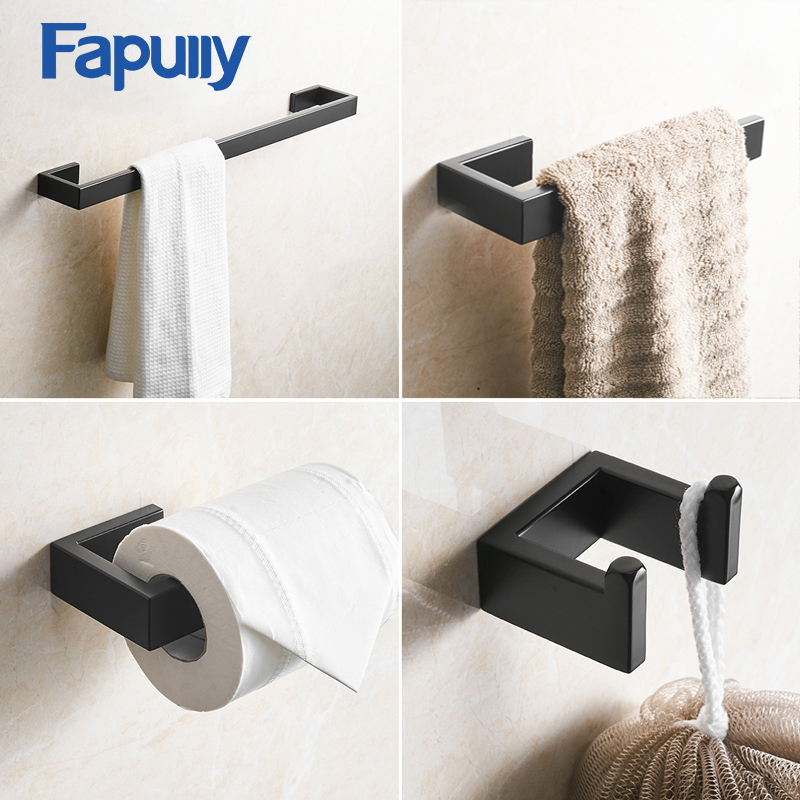 Fapully Matte Black Hardware Set Wall Mount Bathroom Accessories Single Towel Bar Robe Hook Paper Holder Hardware Pendant G124