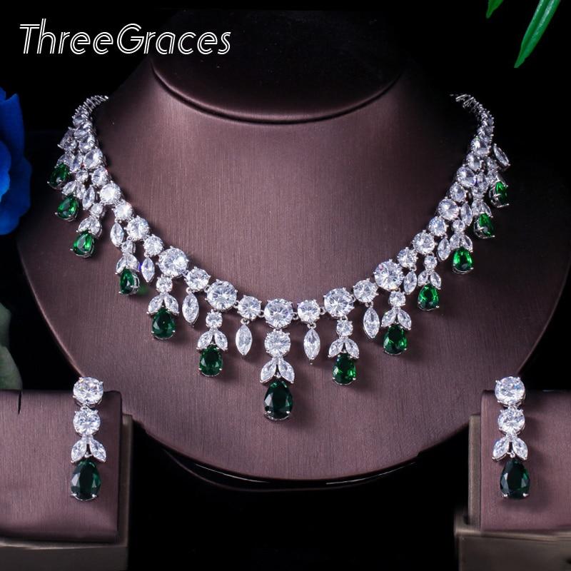 Trois grâces de luxe vert CZ pierre boucles doreilles collier  ensemble brillant grande longue goutte de mariage robe de mariée  ensemble de bijoux pour les femmes JS256Parure de bijoux pour mariée